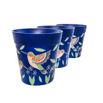 Set of 3 plastic Blue Hummingbird, indoor/outdoor pots 22cm x 22cm