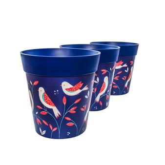 Set of 3 blue plastic Bird Placement, indoor/outdoor pots 22cm x 22cm