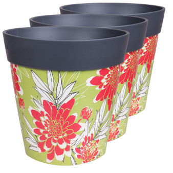 Hum Flowerpots, set of 3 large scale floral, colourful planters indoor/outdoor pots 22cm x 22cm
