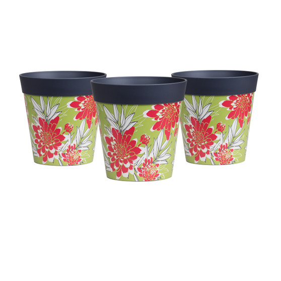 set of 3 small grey green and red floral 15cm indoor/outdoor pots