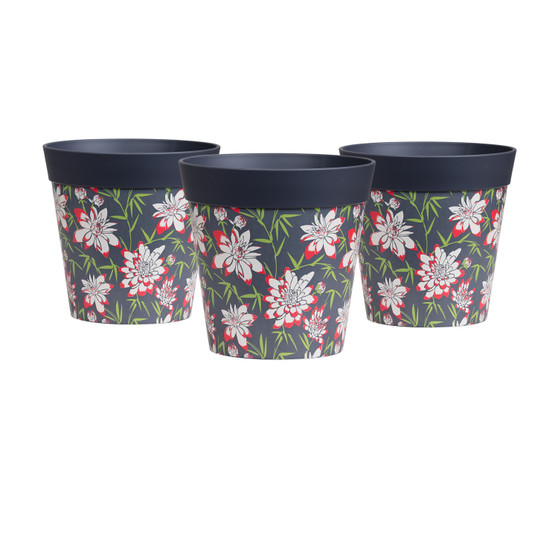 set of 3 small 'bamboo floral' 15cm indoor/outdoor pots