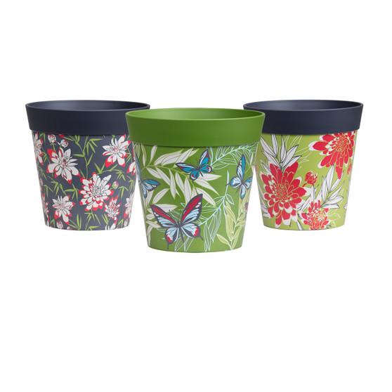 set of 3 small multi, mixed 15cm indoor/outdoor pots