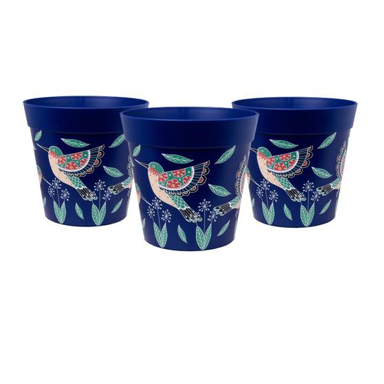 set of 3 small 'blue hummingbird' 15cm indoor/outdoor pots
