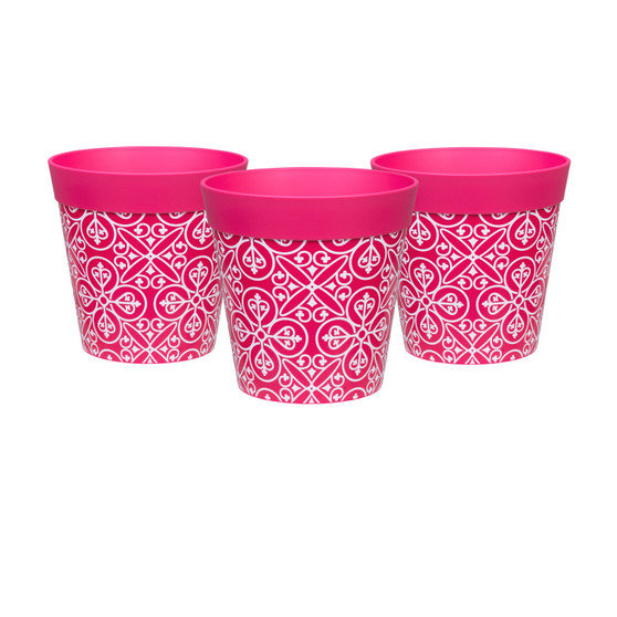 Set of 3 small pink 'maroc tile' 15cm indoor/outdoor pots