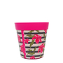 set of 3 small pink 'hibiscus stripe' 15cm indoor/outdoor pots