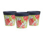 set of 3 small green and red floral 15cm indoor/outdoor pots