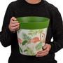 green plastic, flamingo pattern, large 25cm indoor/outdoor pot