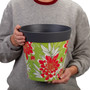grey green and red floral, large 25cm indoor/outdoor pot