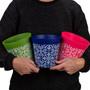 Set of 3 small multi coloured 'maroc tile', 15cm indoor/outdoor pots