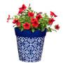 Blue plastic 'Maroc Tile' medium 22cm outdoor/indoor pot