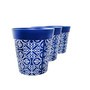Set of 3 blue plastic 'Maroc Tile' 22cm outdoor/indoor pot