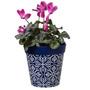 blue plastic  'maroc tile' large 25cm indoor/outdoor pot