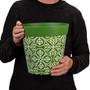 green plastic 'maroc tile' large 25cm indoor/outdoor pot