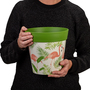Set of 3 green plastic flamingo pattern, indoor/outdoor pots 22cm x 22cm