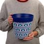 Hum Flowerpots, set of 3 blue plastic peacock colourful planters indoor/outdoor pots 22cm x 22cm