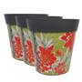 Hum Flowerpots, set of 3 large scale floral, colourful planters indoor/outdoor pots 22cm x 22cm