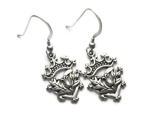 Scottish Luckenbooth Thistle Heart Earrings