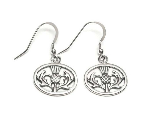 Scottish Thistle Earrings Sterling Silver Dangle Style