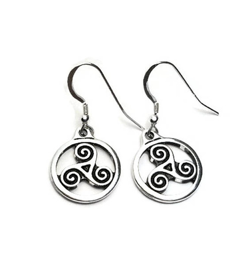 Celtic Triskele Spirals Dangle Earrings