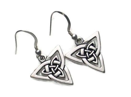 Celtic Knotwork Triangle Trinity Dangle Earrings