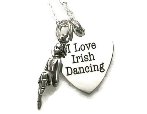I Love Irish Dancing Necklace with Dancer