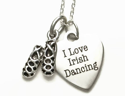 "I Love Irish Dancing Necklace with Ghillies on 18"" Sterling Silver Cable Chain"