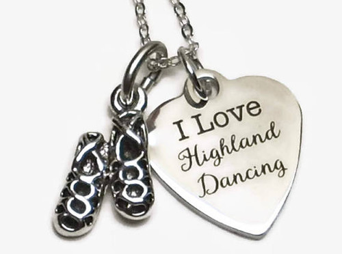 I Love Highland Dancing Necklace with Ghillies