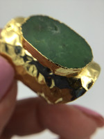 *Hammered Gold Metal Green Turquoise  Ring Adjustable