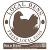 Close up of brown and white local hens cooler cling