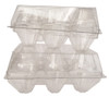Jumbo Clear Plastic 6 Pack Tri-fold Egg Carton. Split-6 Jumbo Carton