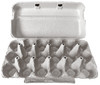 Blank brown 18-egg paper-pulp open carton on white background