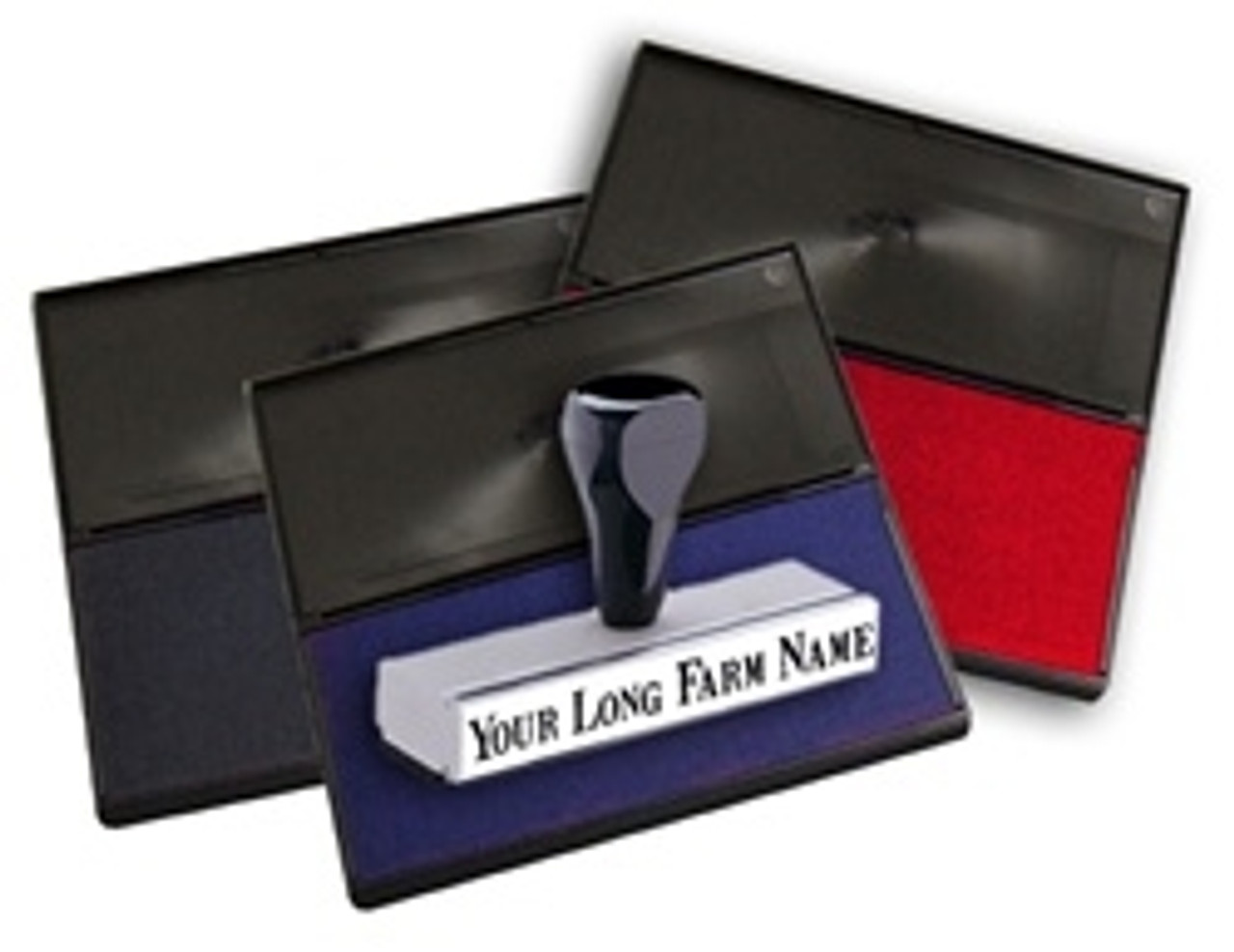 Large red and blue Ink Pads and wooden stamp knob