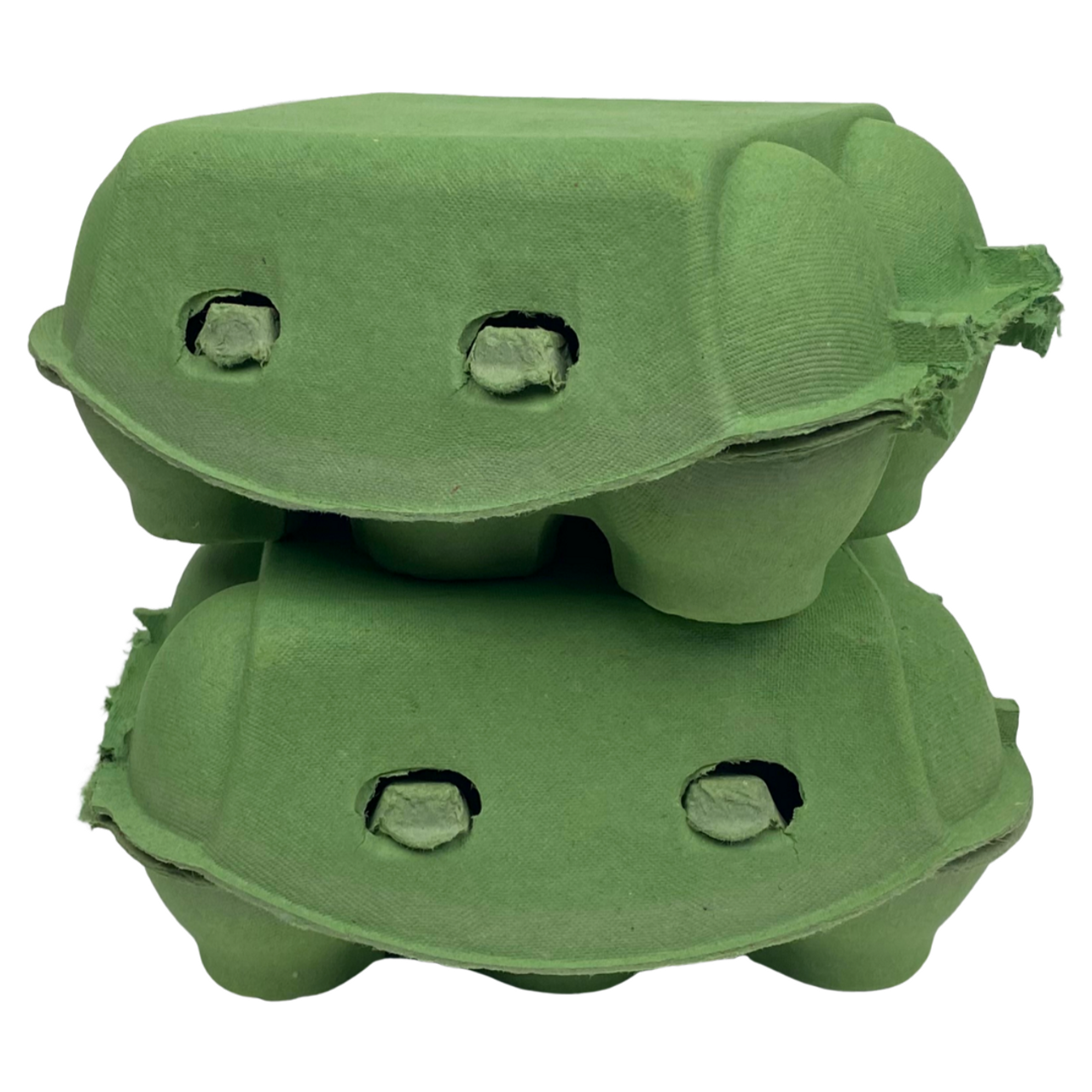 two Grass Green iMagic2® Max - 6-Egg Super Jumbo Flat Top-Paper Pulp Cartons stacked on top of one another