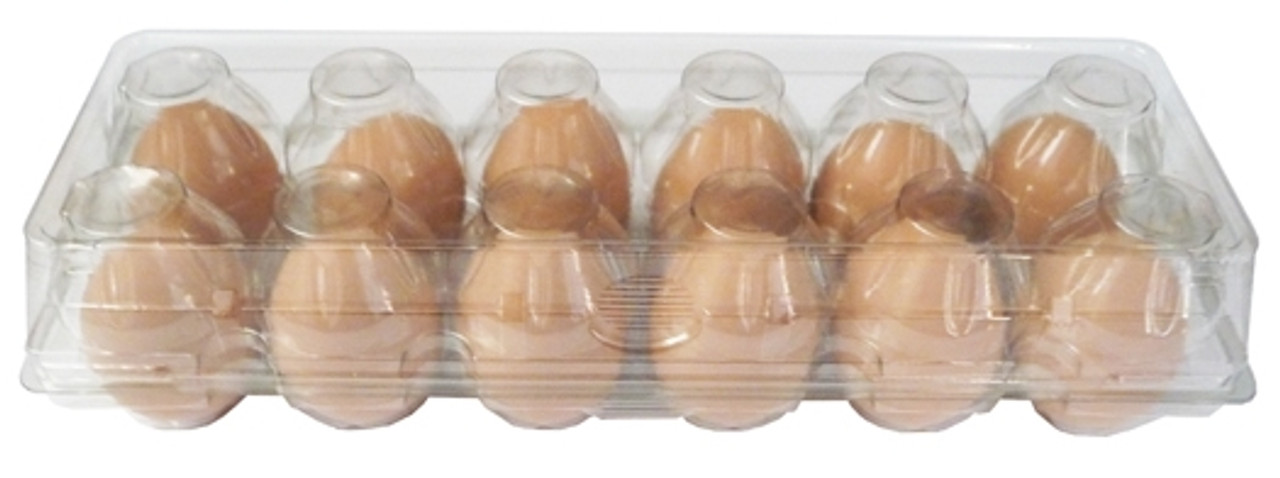 Standard Cell 12-Egg Clear Plastic Carton