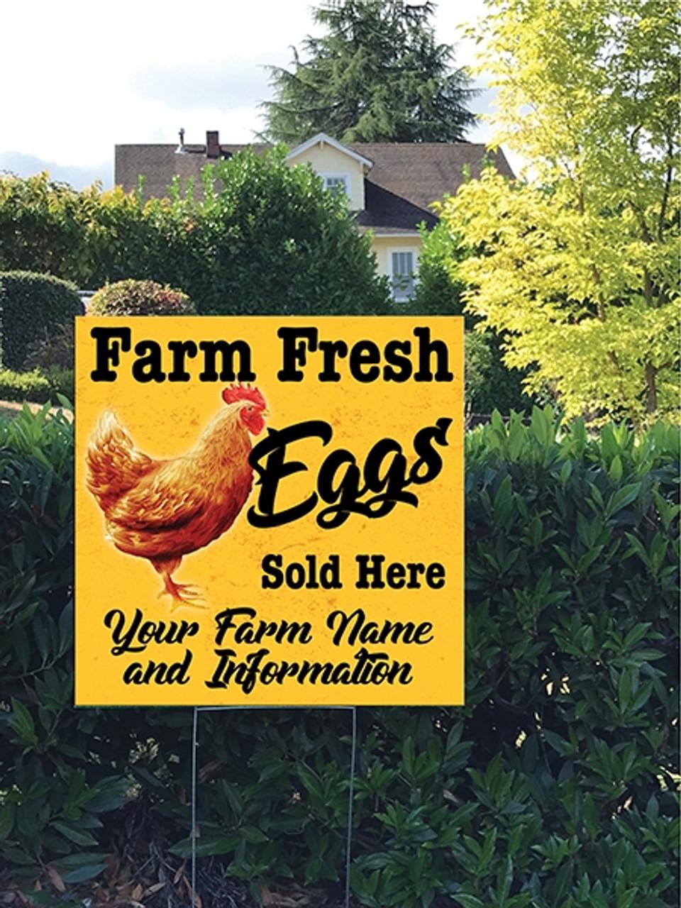 24 x 24 Yard Sign - Chicken Farm Fresh Eggs