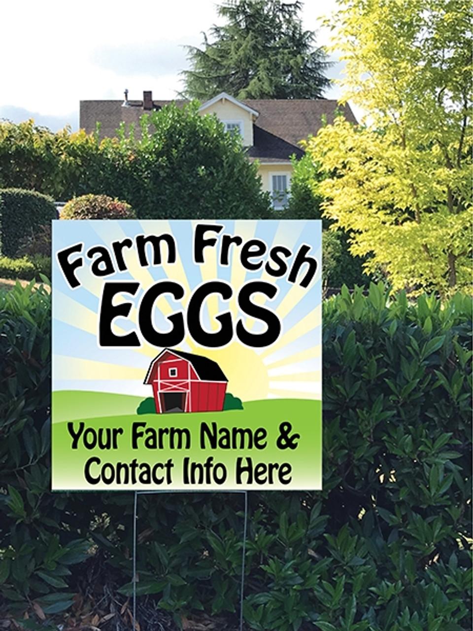 24 x 24 Yard Sign - Sunrise Barn Farm Fresh Eggs