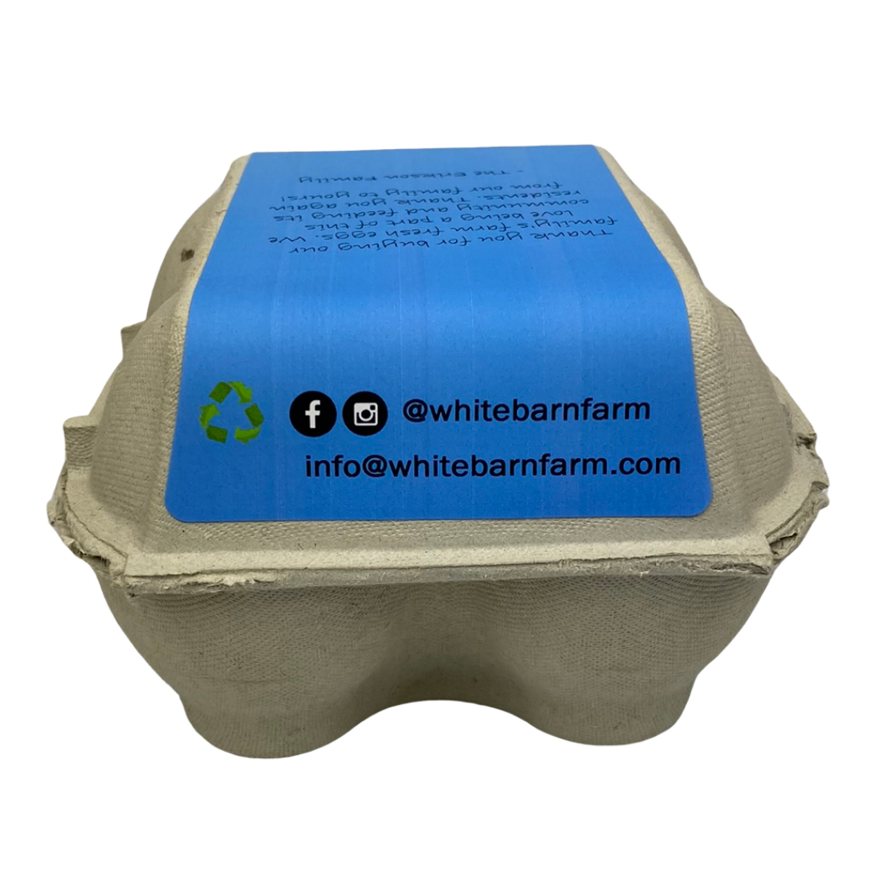 Back view of 4-Egg iMagic Custom Carton Label - Fresh Eggs in Grass attached to paper pulp carton