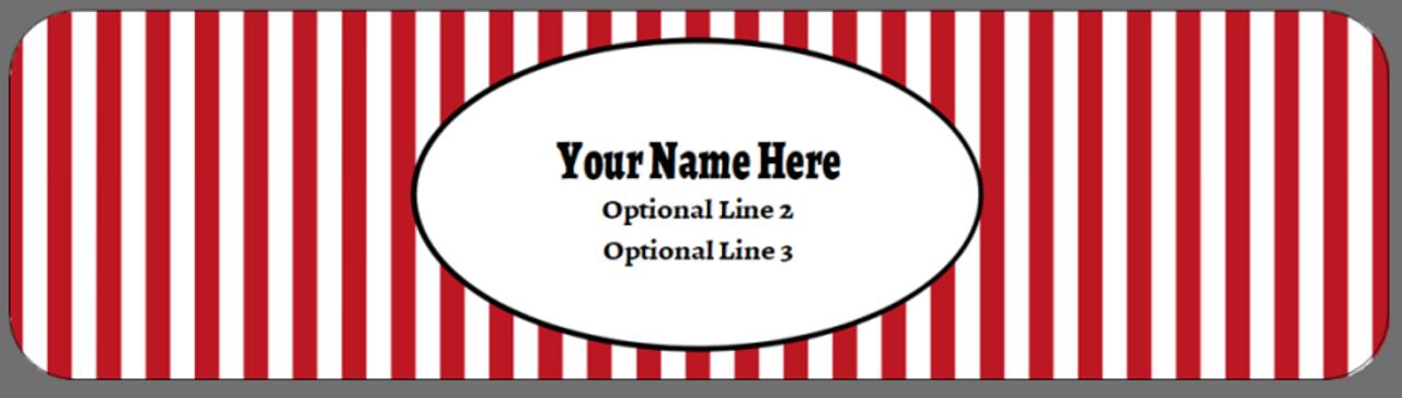 Full Top Custom Carton Label - Yellow, Red, Blue Stripes