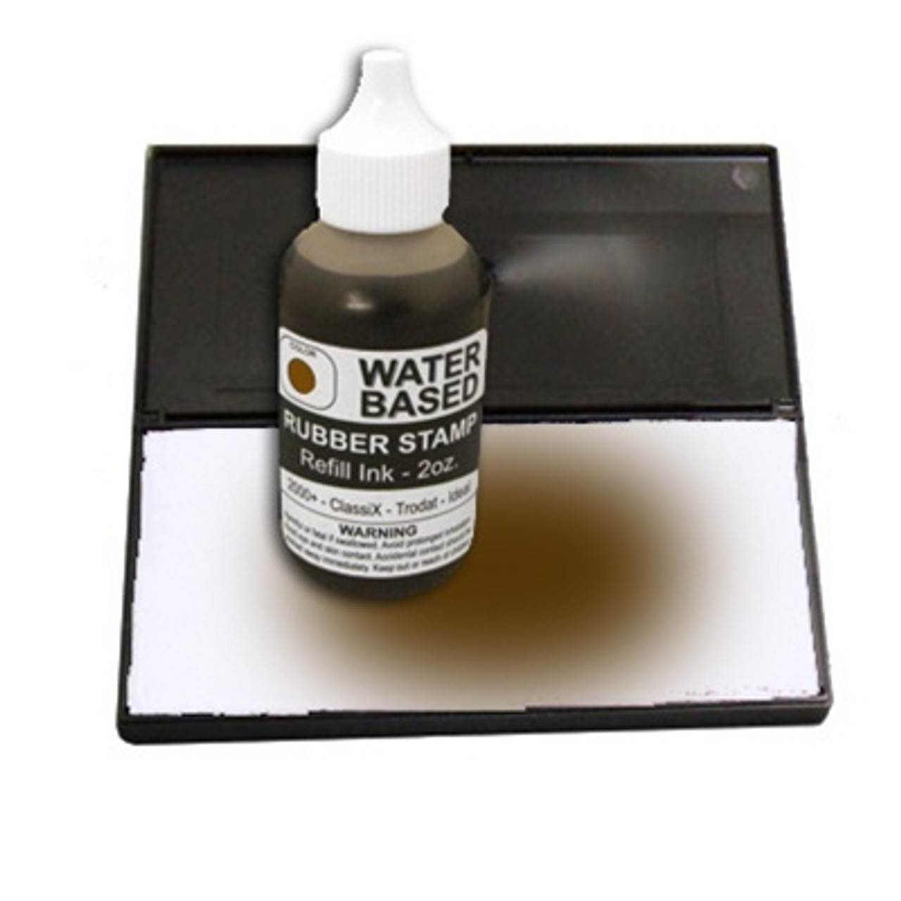 Dry stamp pad with brown ink bottle