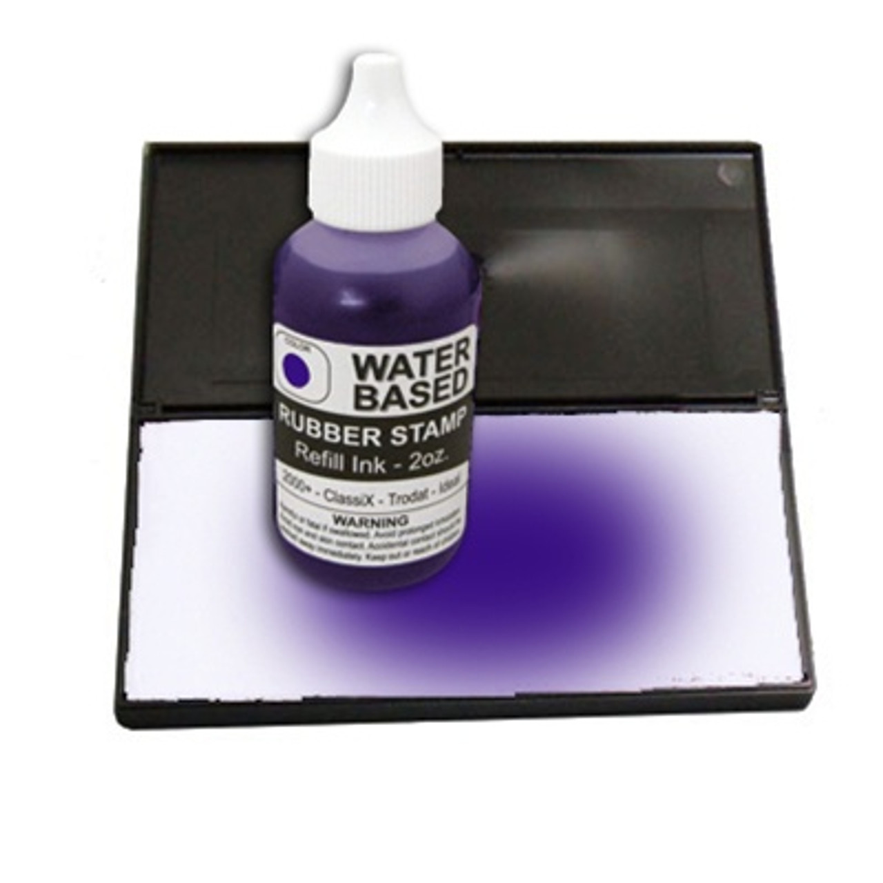 Dry stamp pad with purple ink bottle