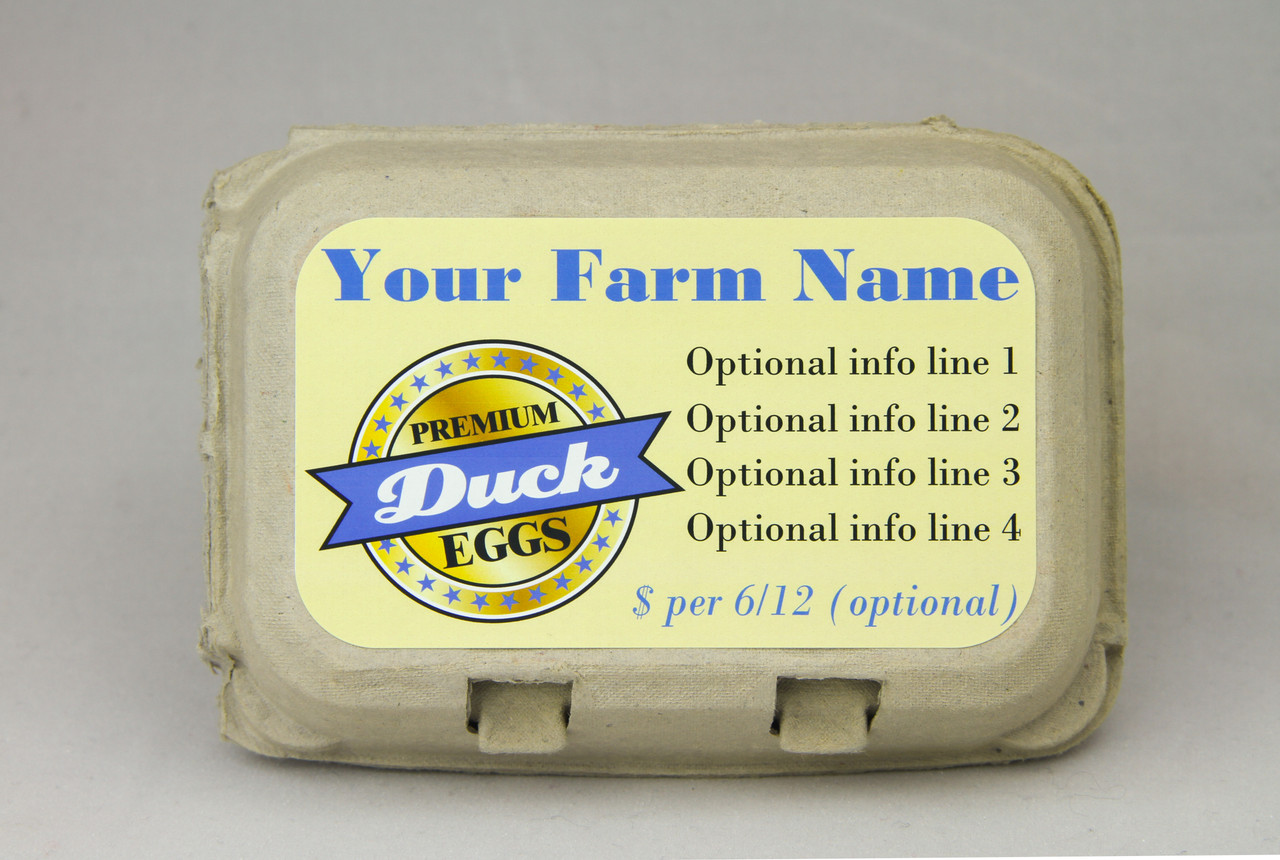 Medium Custom Carton Label Premium Duck or Quail Eggs Seal