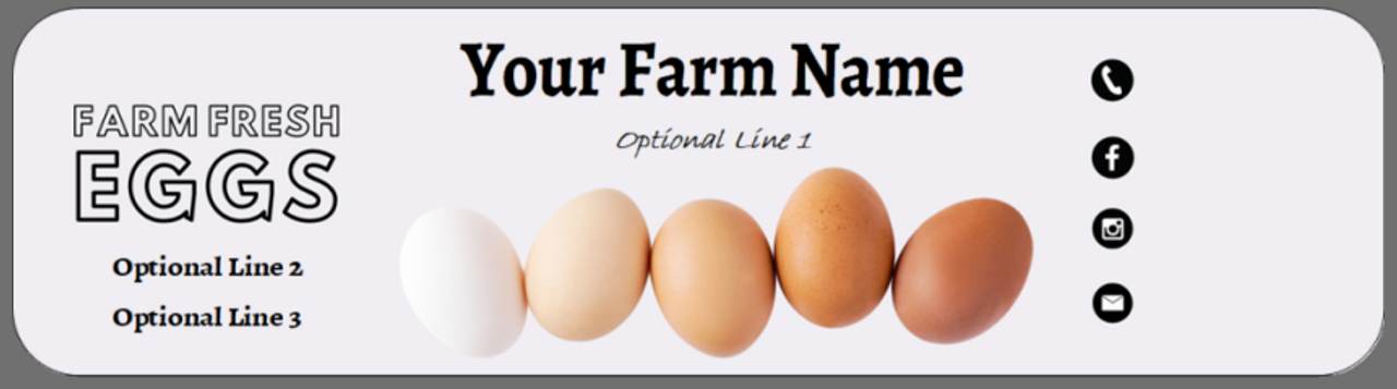 "Customized Professional Egg Carton Label 2.6"" x 10"" - Red Barn Farm with Black Background"