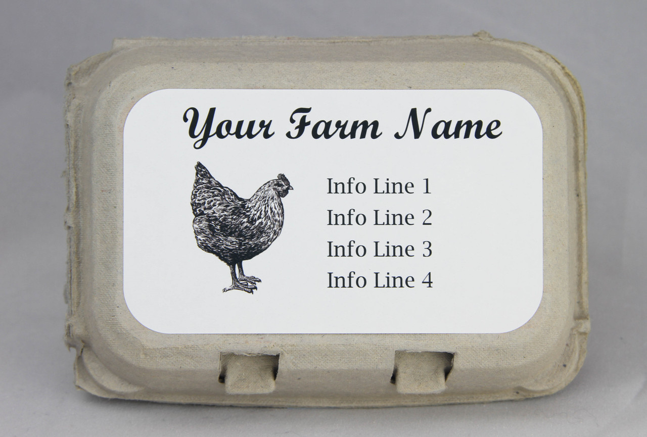 Medium Custom Carton Label Pen & Ink Black & White Chicken