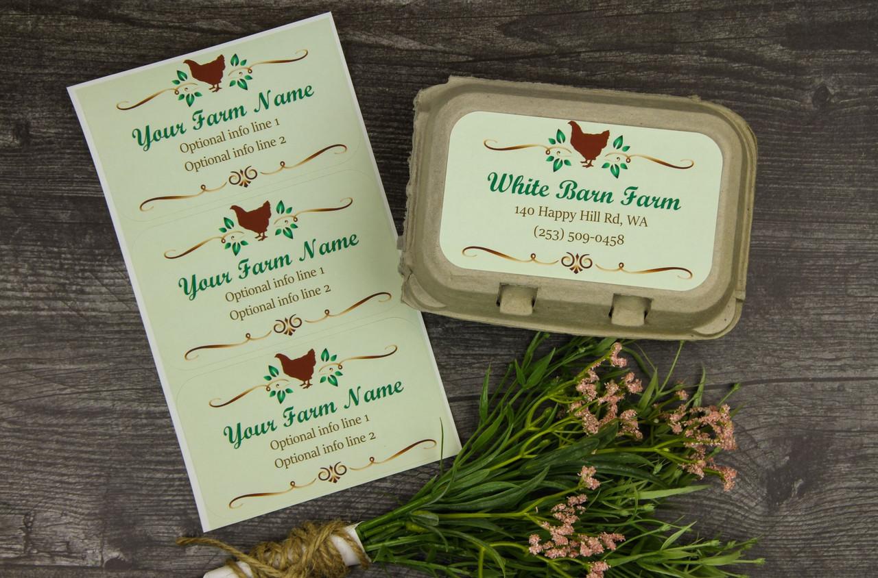 Medium Custom Carton Label Green with Brown Chicken