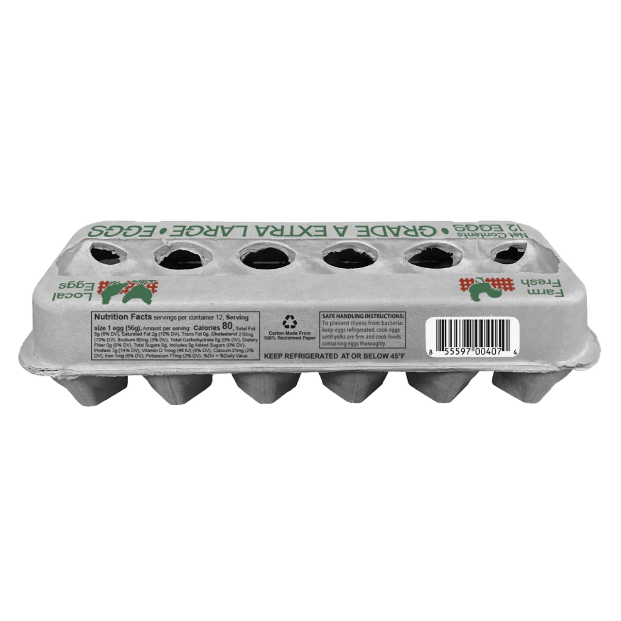 """""""Grade A Extra Large"""", 12 Egg, Molded Fiber View Style Egg Carton back view"""