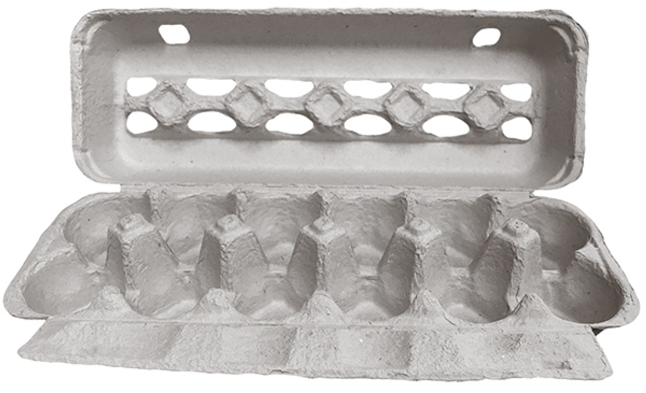 Open front view of a paper pulp egg carton for small farms