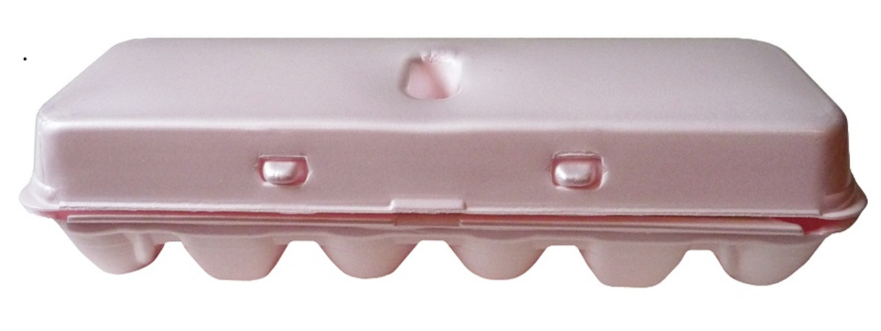 Side view of the front of Jumbo Pink Blank 12-Egg Styrofoam Carton