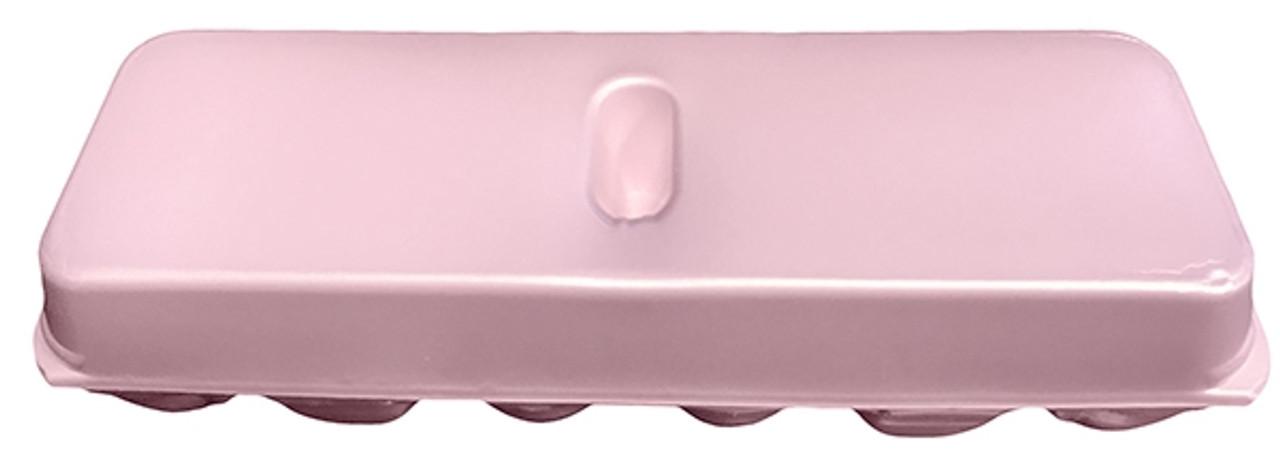 Top view of the Jumbo Pink Blank 12-Egg Styrofoam Carton