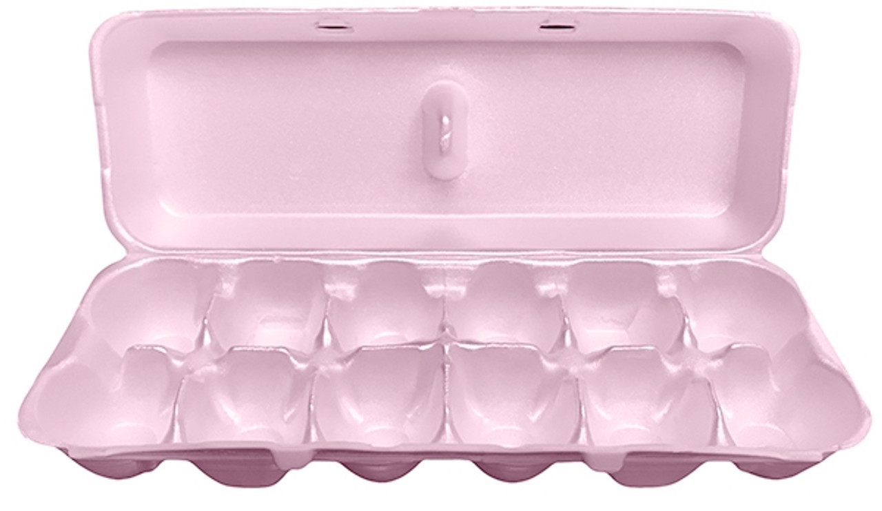 Open view of the Jumbo Pink Blank 12-Egg Styrofoam Carton