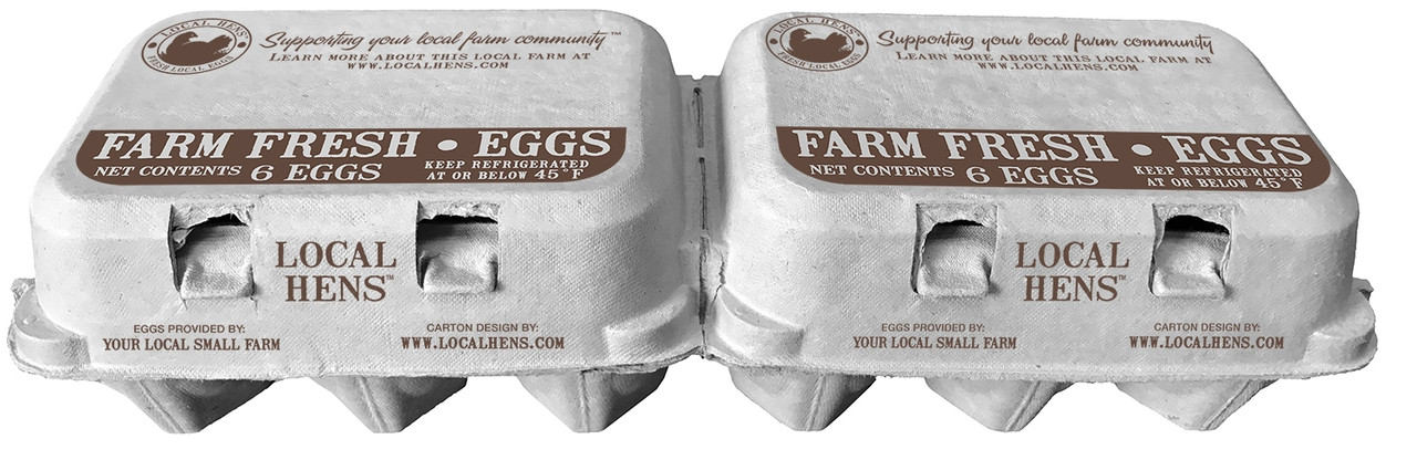 Front view of two Local Hens® Printed Split 6-Egg No Grade/No Size Paper-Pulp Carton with UPC next to each other